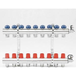 Коллекторная группа Uni-Fitt 1х3/4 9 выходов с регулировочными и термостатическими вентилями (441E4309) коллекторная группа royal thermo в сборе с расходомерами 1 вр 3 4 нр 9 выходов нержавеющая сталь rte 52 109