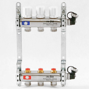 Коллекторная группа Uni-Fitt 1х3/4 3 выходов с регулировочными и термостатическими вентилями (451I4303) коллекторная группа uni fitt 1х3 4 6 выходов с регулировочными и термостатическими вентилями 451i4306