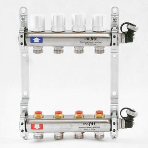 Коллекторная группа Uni-Fitt 1х3/4 4 выходов с регулировочными и термостатическими вентилями (451I4304) коллекторная группа uni fitt 1х3 4 5 выходов с регулировочными и термостатическими вентилями 451i4305