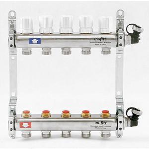 Коллекторная группа Uni-Fitt 1х3/4 5 выходов с регулировочными и термостатическими вентилями (451I4305) коллекторная группа uni fitt 1х3 4 5 выходов с регулировочными и термостатическими вентилями 451i4305
