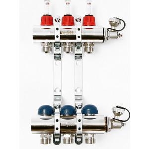 Коллекторная группа Uni-Fitt 1х3/4 3 выходов с расходомерами и термостатическими вентилями (440E4303) коллекторная группа uponor smart s с клапанами стальной 1х3 4 евроконус на 3 выхода 1088046
