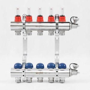 Коллекторная группа Uni-Fitt 1х3/4 5 выходов с расходомерами и термостатическими вентилями (440E4305) коллекторная группа royal thermo в сборе с расходомерами 1 вр 3 4 нр 10 выходов нержавеющая сталь rte 52 110