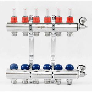 Коллекторная группа Uni-Fitt 1х3/4 6 выходов с расходомерами и термостатическими вентилями (440E4306) коллекторная группа royal thermo в сборе с расходомерами 1 вр 3 4 нр 10 выходов нержавеющая сталь rte 52 110