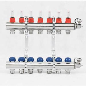 Коллекторная группа Uni-Fitt 1х3/4 7 выходов с расходомерами и термостатическими вентилями (440E4307) коллектор нерж в сборе с расходомерами 1 вр 3 4 нр 7 выходов