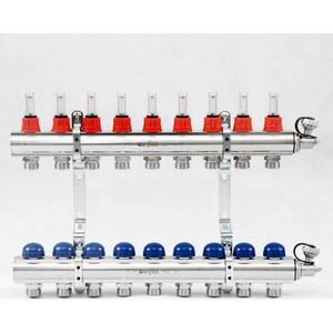 Коллекторная группа Uni-Fitt 1х3/4 9 выходов с расходомерами и термостатическими вентилями (440E4309) коллекторная группа royal thermo в сборе с расходомерами 1 вр 3 4 нр 12 выходов нержавеющая сталь rte 52 112