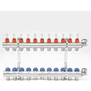 Коллекторная группа Uni-Fitt 1х3/4 11 выходов с расходомерами и термостатическими вентилями (440E4311) коллектор нерж в сборе с расходомерами 1 вр 3 4 нр 9 выходов