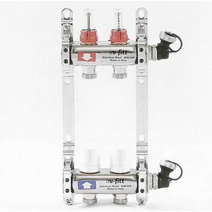 Коллекторная группа Uni-Fitt 1х3/4 2 выходов с расходомерами и термостатическими вентилями (450I4302) коллекторная группа uni fitt н 1х3 4 3 выходов с расходомерами и термостатическими вентилями 455w4303