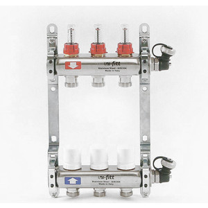 Коллекторная группа Uni-Fitt 1х3/4 3 выходов с расходомерами и термостатическими вентилями (450I4303) коллекторная группа uni fitt н 1х3 4 3 выходов с расходомерами и термостатическими вентилями 455w4303