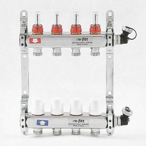 Коллекторная группа Uni-Fitt 1х3/4 4 выходов с расходомерами и термостатическими вентилями (450I4304) коллекторная группа uni fitt н 1х3 4 4 выходов с расходомерами и термостатическими вентилями 455w4304