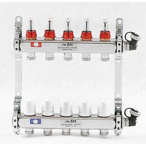 Коллекторная группа Uni-Fitt 1х3/4 5 выходов с расходомерами и термостатическими вентилями (450I4305) коллекторная группа uni fitt 1х3 4 13 выходов с расходомерами и термостатическими вентилями 450i4313