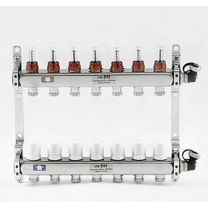 Коллекторная группа Uni-Fitt 1х3/4 7 выходов с расходомерами и термостатическими вентилями (450I4307) коллекторная группа uni fitt н 1х3 4 3 выходов с расходомерами и термостатическими вентилями 455w4303