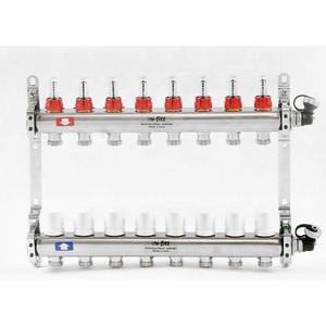 Коллекторная группа Uni-Fitt 1х3/4 8 выходов с расходомерами и термостатическими вентилями (450I4308) коллекторная группа itap 1х3 4 3 выходов с расходомерами и термостатическими вентилями 917c 1 3