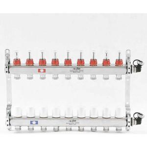 Коллекторная группа Uni-Fitt 1х3/4 9 выходов с расходомерами и термостатическими вентилями (450I4309) коллекторная группа uni fitt 1х3 4 4 выходов с расходомерами и термостатическими вентилями 440e4304