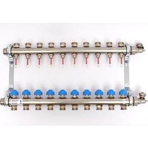 Коллекторная группа Uni-Fitt Н 1х3/4 10 выходов с расходомерами и термостатическими вентилями (455W4310) коллекторная группа royal thermo в сборе универсальная 1 вр 3 4 нр 2 выхода нержавеющая сталь rte 51 102