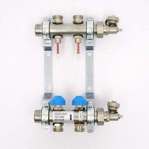 Коллекторная группа Uni-Fitt Н 1х3/4 2 выходов с расходомерами и термостатическими вентилями (455W4302) коллекторная группа uni fitt н 1х3 4 3 выходов с расходомерами и термостатическими вентилями 455w4303