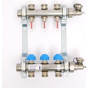 Коллекторная группа Uni-Fitt Н 1х3/4 3 выходов с расходомерами и термостатическими вентилями (455W4303) коллекторная группа royal thermo в сборе с расходомерами 1 вр 3 4 нр 9 выходов нержавеющая сталь rte 52 109