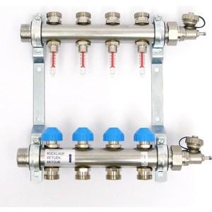 Коллекторная группа Uni-Fitt Н 1х3/4 4 выходов с расходомерами и термостатическими вентилями (455W4304) коллекторная группа uni fitt н 1х3 4 2 выходов с расходомерами и термостатическими вентилями 455w4302