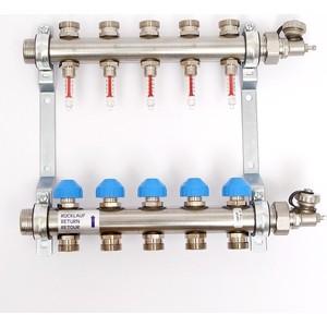 Коллекторная группа Uni-Fitt Н 1х3/4 5 выходов с расходомерами и термостатическими вентилями (455W4305) коллекторная группа uni fitt н 1х3 4 3 выходов с расходомерами и термостатическими вентилями 455w4303