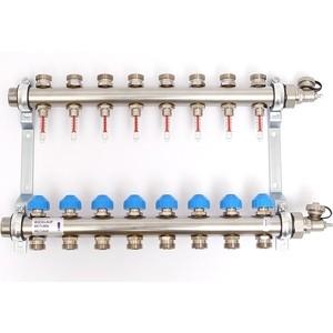 Коллекторная группа Uni-Fitt Н 1х3/4 8 выходов с расходомерами и термостатическими вентилями (455W4308) коллекторная группа royal thermo в сборе универсальная 1 вр 3 4 нр 2 выхода нержавеющая сталь rte 51 102