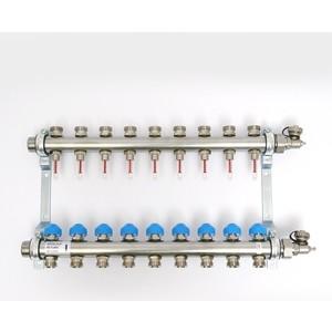 Коллекторная группа Uni-Fitt Н 1х3/4 9 выходов с расходомерами и термостатическими вентилями (455W4309) коллектор нерж в сборе с расходомерами 1 вр 3 4 нр 9 выходов