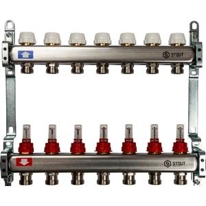 Коллекторная группа STOUT 1х3/4 7 выходов с расходомерами (SMS 0917 000007) коллекторная группа stout 1х3 4 12 выходов с расходомерами sms 0917 000012