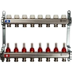 Коллекторная группа STOUT 1х3/4 8 выходов с расходомерами (SMS 0917 000008) коллекторная группа stout 1х3 4 4 выходов с расходомерами sms 0917 000004