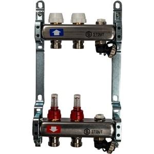 Коллекторная группа STOUT 1х3/4 2 выходов с расходомерами с клапаном выпуска воздуха и сливом (SMS-0927-000002) коллекторная группа stout 1х3 4 2 выходов для радиаторной разводки sms 0923 000002