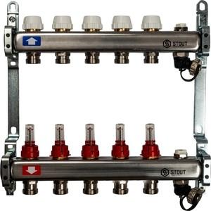 Коллекторная группа STOUT 1х3/4 5 выходов с расходомерами с клапаном выпуска воздуха и сливом (SMS-0927-000005) коллекторная группа stout 1х3 4 5 выходов с расходомерами smb 0473 000005