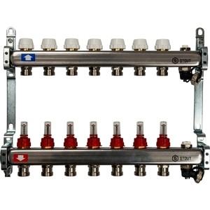 Коллекторная группа STOUT 1х3/4 7 выходов с расходомерами клапаном выпуска воздуха и сливом (SMS-0927-000007)