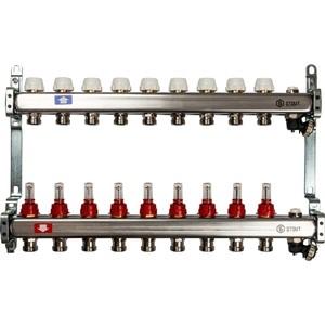 Коллекторная группа STOUT 1х3/4 9 выходов с расходомерами с клапаном выпуска воздуха и сливом (SMS-0927-000009) коллекторная группа royal thermo в сборе с расходомерами 1 вр 3 4 нр 9 выходов нержавеющая сталь rte 52 109