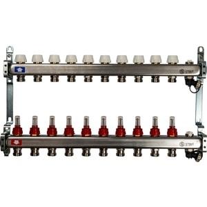 Коллекторная группа STOUT 1х3/4 10 выходов с расходомерами клапаном выпуска воздуха и сливом (SMS-0927-000010)