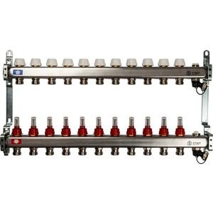 Коллекторная группа STOUT 1х3/4 11 выходов с расходомерами с клапаном выпуска воздуха и сливом (SMS-0927-000011) коллекторная группа stout 1х3 4 12 выходов с расходомерами с клапаном выпуска воздуха и сливом sms 0927 000012