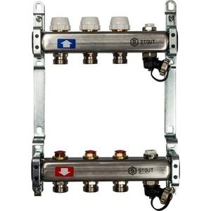 Коллекторная группа STOUT 1х3/4 3 выходов без расходомеров с клапаном выпуска воздуха и сливом (SMS-0932-000003) 0932 mantra
