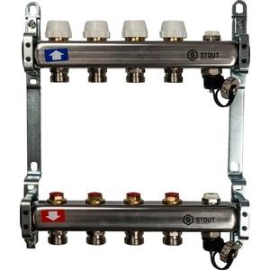 Коллекторная группа STOUT 1х3/4 4 выходов без расходомеров с клапаном выпуска воздуха и сливом (SMS-0932-000004) коллекторная группа stout 1х3 4 4 выходов для радиаторной разводки sms 0923 000004