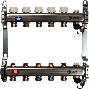 Коллекторная группа STOUT 1х3/4 5 выходов без расходомеров с клапаном выпуска воздуха и сливом (SMS-0932-000005) 0932 mantra
