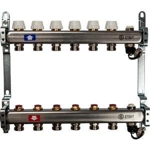 Коллекторная группа STOUT 1х3/4 6 выходов без расходомеров с клапаном выпуска воздуха и сливом (SMS-0932-000006) 0932 mantra