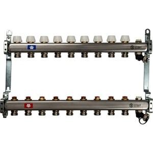 Коллекторная группа STOUT 1х3/4 9 выходов без расходомеров с клапаном выпуска воздуха и сливом (SMS-0932-000009) 0932 mantra