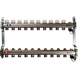 Коллекторная группа STOUT 1х3/4 10 выходов без расходомеров с клапаном выпуска воздуха и сливом (SMS-0932-000010) 0932 mantra