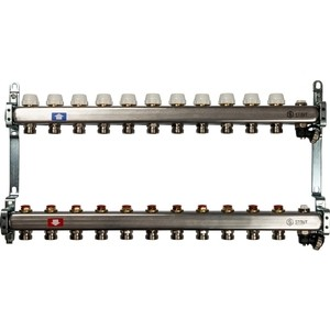 Коллекторная группа STOUT 1х3/4 11 выходов без расходомеров с клапаном выпуска воздуха и сливом (SMS-0932-000011) 0932 mantra