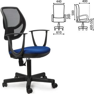 Кресло оператора Brabix Flip MG-305 с подлокотниками синее/черное TW 531415