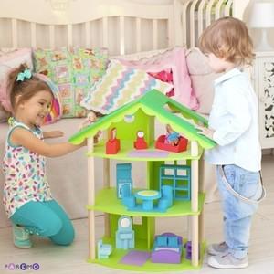 PAREMO Кукольный домик Фиолент с мебелью 14 предметов (PD216-02)