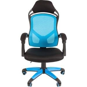 Офисноекресло Chairman game 12 черно-голубой компьютерное кресло chairman game 8 черно синий