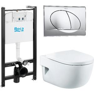 Комплект Roca Meridian унитаз подвесной с микролифтом, инсталляция, кнопка (893104110) комплект serel smart sm12 san85 beta slim подвесной унитаз инсталляция кнопка