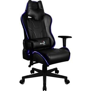 Кресло для геймера Aerocool AC220 RGB-B черное с перфорацией и RGB подсветкой