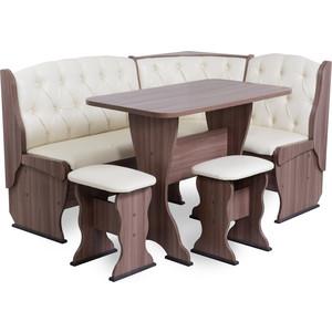 Набор мебели для кухни Бител Орхидея - люкс (шимо ясень темный, Борнео крем, шимо темный)