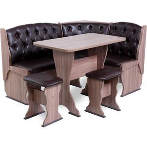 Набор мебели для кухни Бител Орхидея - люкс (шимо ясень темный, Борнео умбер, шимо темный)