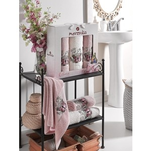 Набор из 3 полотенец Merzuka Butterfly махра (50x80-2/70x130-1) 3 штуки (9335 розовый) набор из 3 полотенец merzuka lale светло розовый махра 50x80 2 70x130 1 9293светло розовый