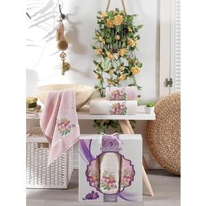 Набор из 3 полотенец Merzuka Violet махра (50x80-2/70x130-1) 3 штуки (9519 розовый) набор из 3 полотенец merzuka lale светло розовый махра 50x80 2 70x130 1 9293светло розовый