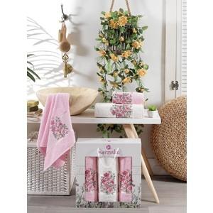 Набор из 3 полотенец Merzuka Floral махра (50x80-2/70x130-1) штуки (9523 розовый)