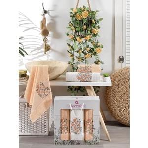 Набор из 3 полотенец Merzuka Floral махра (50x80-2/70x130-1) штуки (9523 персиковый)
